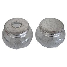 Antique 2 pc. Matching Sterling Top Dresser Jars Wheel Cut Floral Glass Design