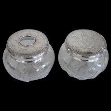Antique 2 pc. Matching Sterling Top Dresser Jars Wheel Cut Floral Glass Design