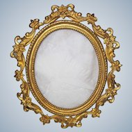 Lovely Antique Gold Gilt Ormolu Table Top Brass Picture Frame Very Nice!