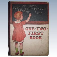 "Hard To Find 1920's Childrens' Learning Book ""One-Two First Book"" Number, Alphabet & Word Book by Charles E. Graham & Co."
