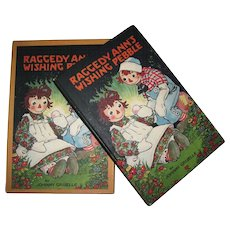 1925 Raggedy Ann's Wishing Pebble Book & Original Box by Johnny Gruelle Published by Volland Very Nice!
