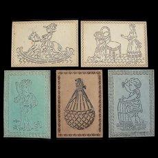 """5 Unusual Children's Antique Stencil Cards 6 3/8"""" x 4 3/8"""""""