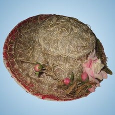 Fabulous Original Antique 1890's Turn Up Brim Horsehair Doll Hat Floral Trim & Red Lace Interior French or German Dolls