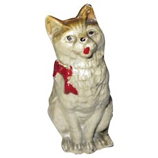 "Hard To Find Vintage Miniature Painted Lead Cat Kitten w/ Red Bow 2 1/4"" x 1 1/4"""