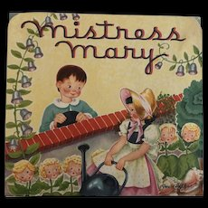 Vintage 1930's Mistress Mary Pop-up Book Nursery Rhyme by Geraldine Clyne NY