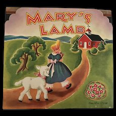 Vintage 1930's Mary's Lamb Pop-up Book Nursery Rhyme by Geraldine Clyne NY