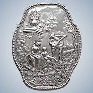 Antique Ca. 1890-1900 Ornate Scenic Repousse Hanau Silver Trinket Box