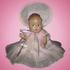 "Sweet 7"" Vintage All Original Composition Baby Dionne Quintuplet Type Organdy Dress & Hat"