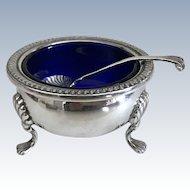 Vintage Sterling Silver Footed Open Salt Cobalt Glass Line & Sterling Salt Spoon