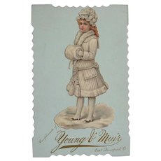 Victorian Antique Store Advertisement Card Glossy Lithograph Die Cut of Girl