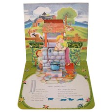"""Vintage 1930's """"Ding, Dong,Bell!"""" Pop-up Book Nursery Rhyme by Geraldine Clyne NY"""