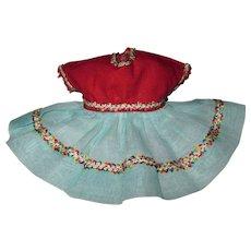 CRISP 1955 Nancy Ann MUFFIE Doll Dress #506-3 Aqua Organdie & Red Failletone Dress