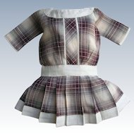 Lovely Antique Style Vintage Doll Dress Plum Plaid Drop Waist
