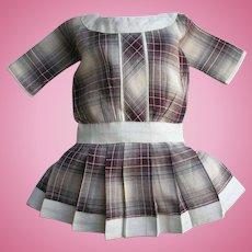 Lovely Antique Style Vintage Doll Dress Plum Plaid Drop Waist