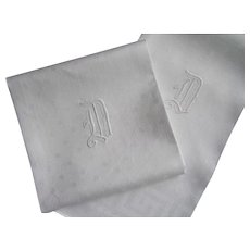 "Set of 6 Vintage Damask Napkins Initial ""D"" Hand Hemmed Edges 21 1/2"" x 21"""