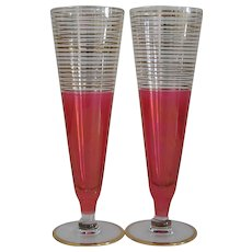 "Pair 8 3/4"" Tall Vintage Mid-Century Cranberry Flashed Tall Stems or Vases"
