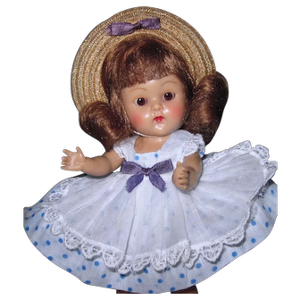 LOVELY 1952 Strung Vintage Vogue Ginny Doll LUCY #39 Tiny Miss High Color Root Beer Eyes