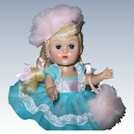 ADORABLE 1950'S MLW Vintage Vogue Ginny Doll #7022 Turquoise Dress Rosy Cheeks
