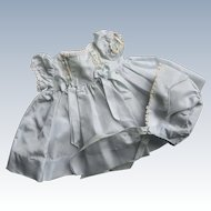 Lovely Vintage Factory Powder Blue Taffeta Doll Dress w/ Matching Bonnet NICE!
