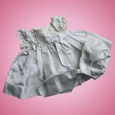 Lovely Vintage Factory Powder Blue Taffeta Doll Dress w/ Matching Bonnet NICE!