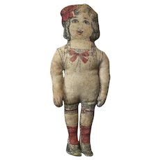 """6"""" Antique Ca. 1913 Printed Cloth Doll """"American Beauty"""""""