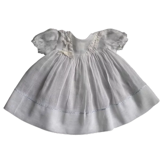 Adorable Vintage Factory Original White Organdy Doll Dress