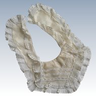 Superb 19th C. Victorian Silk With Ruffled Valenciennes Lace  Antique Baby Bib