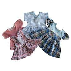 Four  Nice 1950's Vintage Doll Dresses Various Sizes Toni, Nancy & Others