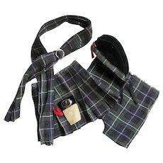 4 pc. Vintage Scottish Plaid Doll Dress Outfit Skirt/Kilt, Pants, Shawl & Hat