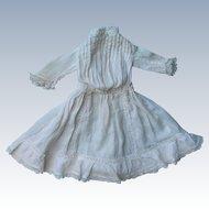 Fabulous Antique Doll Dress w/ Lace Trim & Tucks Super Nice!