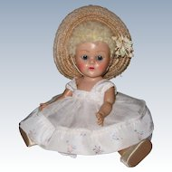 FABULOUS 1952 Strung Vintage Vogue Poodle Wig Ginny Doll with Fever Cheeks Tagged Dress