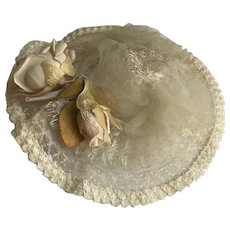 Lovely Vintage Woven Horsehair Doll Hat w/ Flowers