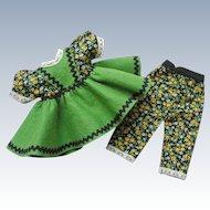 ADORABLE 2 pc. Vintage 1950's Factory Original Doll Dress w/ Matching Pants