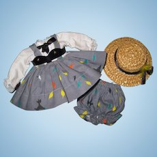 Tagged 1954 Vintage Vogue Ginny Doll Dress, Bloomers & Hat #44 My Tiny Miss