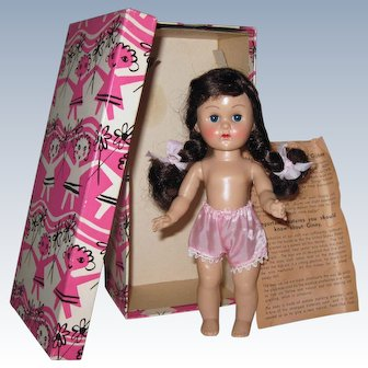 Mint-In-Box Superb 1955-56 MLW Vintage Vogue Ginny Doll Rosy Cheeks Correct Box