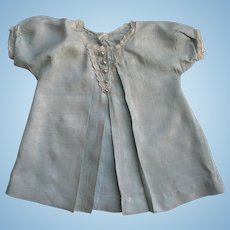Lovely Vintage Light Blue Doll Dress w/ Lace Trim & Pearl Button Decoration