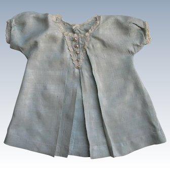 Lovely Vintage Light Blue Doll Dress w/ Lace Trim & Pearl Button Decoration