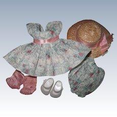 Crisp Tagged 1954-56 Vintage Vogue Ginny Doll Dress, Bloomers, Hat, Shoes, Socks