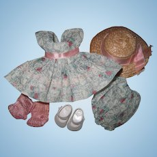 Crisp Tagged 1954-56 Vintage Vogue Ginny Doll Dress, Bloomers, Hat, Shoes, Socks
