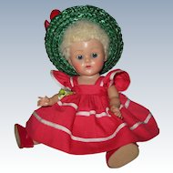 1952-53 strung poodle cut wigged Vogue Ginny doll with nice cheek coloring tagged 1953 Glad #42 from the Tiny Miss Series