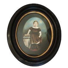 LOVELY Antique 19th C Framed Oil Painting of a Young Girl