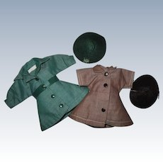 """1950s Vintage 8"""" Tagged Terri Lee Doll Brownie & Girl Scout Uniforms w/ Caps"""