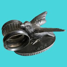 Antique Ca. 1880's Silver Plate Figural Bird Napkin Ring Rockford Silver Plate Co.