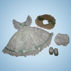 Crisp Tagged 1954 Vintage Vogue Ginny Doll Dress Green Bridesmaid #65 My First Corsage