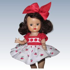 1954 SLW Nancy Ann Muffie Doll #501-2 Variation Gay Cotton Prints No Brows