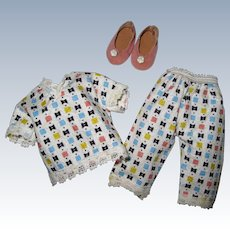 """1955 Vintage Nancy Ann Muffie Doll Outfit """"Pajamas"""" #910-3 Special Occasion Styles"""