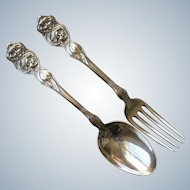 Antique Sterling Silver Unger Brothers Cupid Sunbeam Small Spoon & Fork