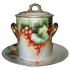 Beautiful Hand Painted Condensed Milk, or Marmalade Jar with Limoges Underplate