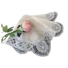 Antique Handmade Belgium Duchess Lace Bridal Hankie NEVER USED WITH ORIGINAL TAG