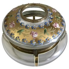 Lovely Vintage Glass Vanity Hair Receiver w/ Hand Painted Enamel Roses